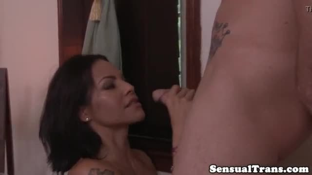 Massaging tranny fucked and jizzed on belly